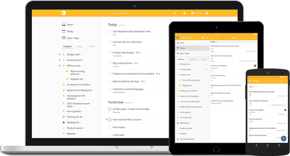 Todoist screenshot for office productivity post