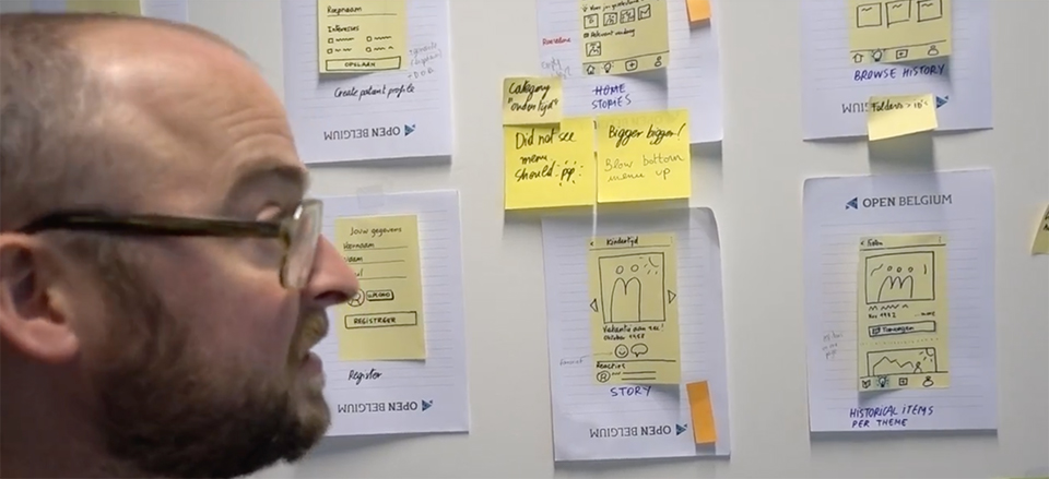 Interface sketches with sticky notes on the wall